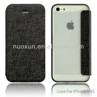 Fashion design pu leather mobile phone flip case for iphone5