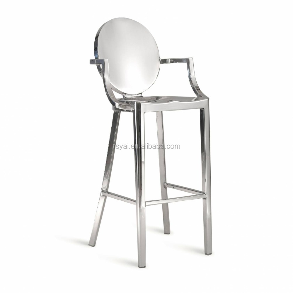 Modern fashionable new design round back middle height reception kong easy brushed stainless steel dining chair