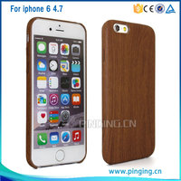 Wood grain pattern design pvc stick skin case for iphone 6 button protective case