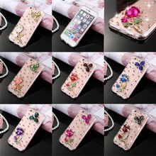 Factory Direct Selling Bling Diamond Rhinestone 3D Rose Pattern PC Clear Back Case For iPhone 6/6s