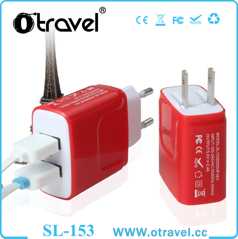 Travel dual USB Port Wall Charger Portable EU/US USB Wall Travel Charger for Mobile Phone