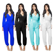 Premium polyester over stock S-XL women pants ladies custom long sleeve jumpsuit