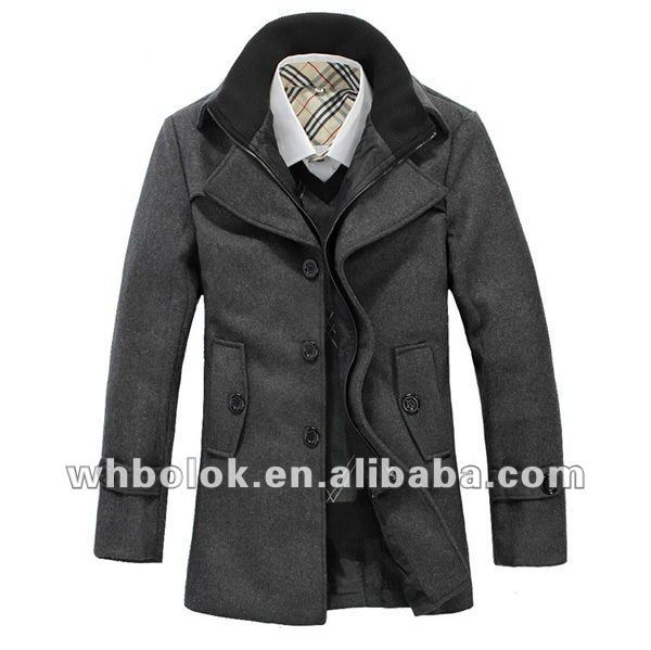 Custom Logo Men's Melton Wool Coat Double Collar Design Winter ...