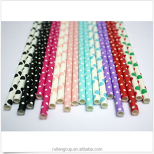 25pcs Polka Dot Vintage Paper Party Drinking Straws For Wedding Birthday Favor