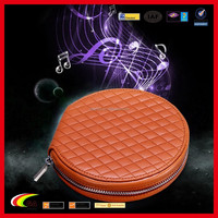 2015 New Blank Round CD DVD Bag with Zipper, Personalized PU Leather CD DVD Carrying Case Holder