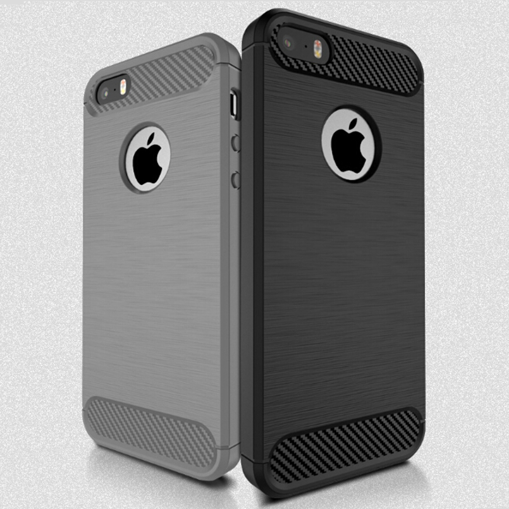 Carbon Fiber Brush Phone Case TPU Bumper Cover Case For iphone 5