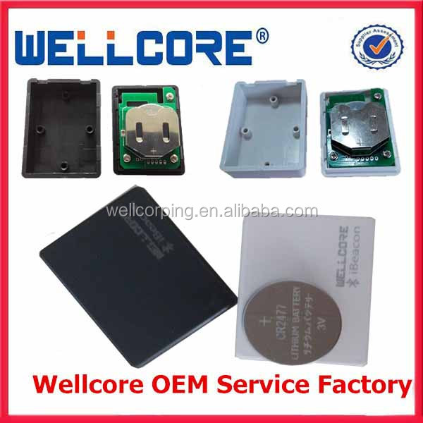 Wellcore Provide IBeacons/ Solar cell ibeacon /IBeacon Waterproof case/ ibeacon with 2pcs CR2477 battery module and OEM!
