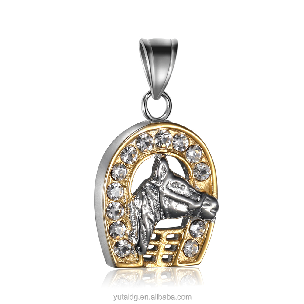 Jingli Jewelry Horse Head Pendant 316L Stainless Steel Diamond-encrusted Horseshoe Pendant(GH-016)