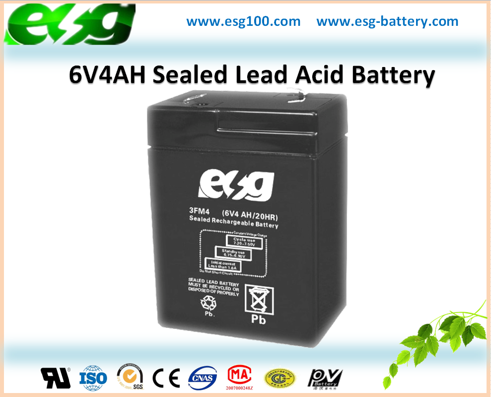 6V4AH Fire Fighting Rechargeable MF VRLA Storage Battery