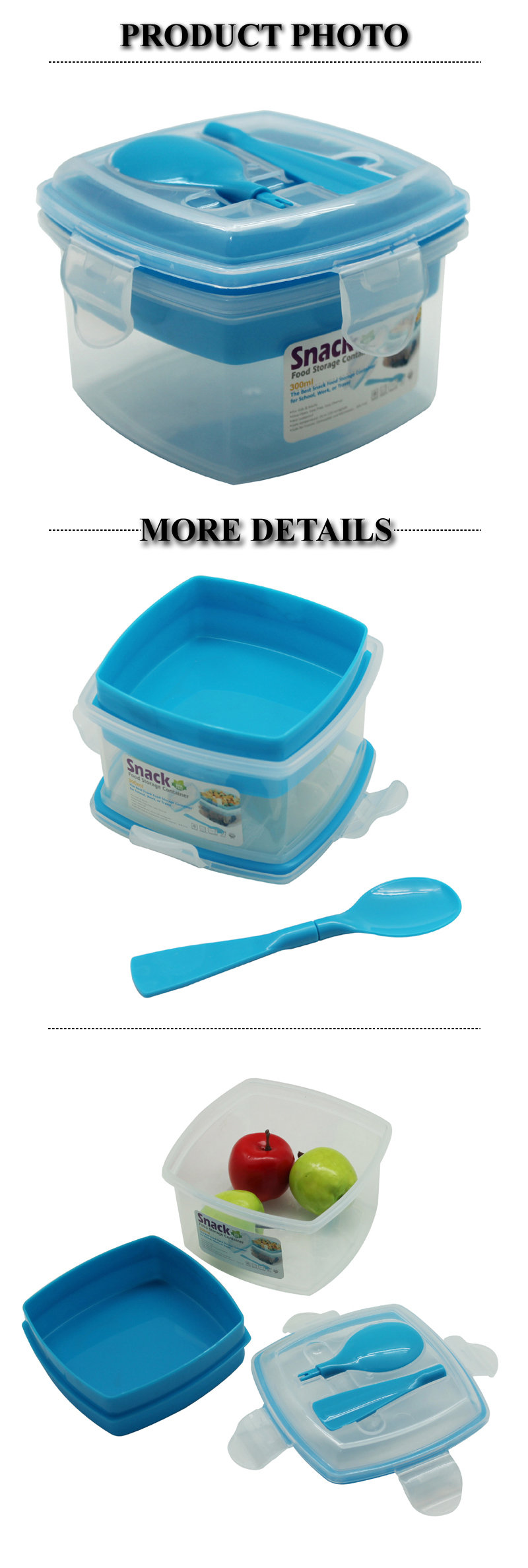 PP Square shape Kids' Yogurt and Snack Box for Back-to-School