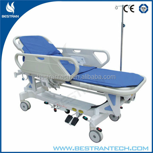 China BT-TR009 hospital electric adjustable patient transport stretcher, military bed frame