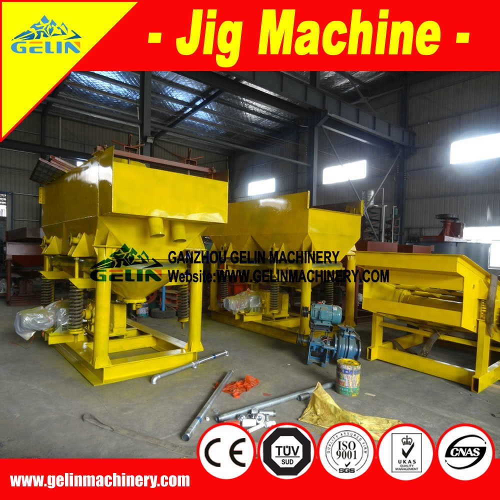 Alluvial jigging machines with fixed sieve for deposit gold