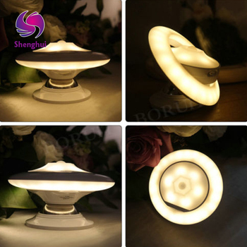 Creative Flying Saucer USB Charging Bedroom LED Nightlight Spin Intelligent Human Induction Lamp Bedside Lamp Cabinet Light