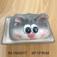 Popular rabbit designed ceramic butter plate with lid