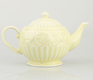 900cc Light Yellow Color Glazed Graceful Fancy Luxury Ceramic Porcelain Coffee and Tea Pots