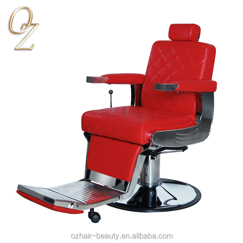 Red Vintage Barber Shop Chairs Hydraulic Hairdressing Chair For Man Reclining Salon Styling Chair