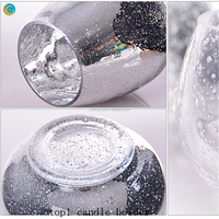 Silver plating glass telight candle holder tealight candle holder with heater wall hanging candle holder
