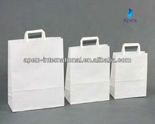 High quality handle white kraft paper bag wholesale