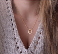 New Retro Fashion Drop ring shaped Long Necklace