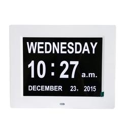 8 inch digital day clock for dementia with alarm and chime function
