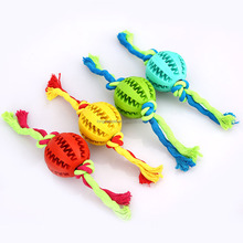 Rubber Dog Chewing Teeth Ball Toy Training Pet Toy with Rope