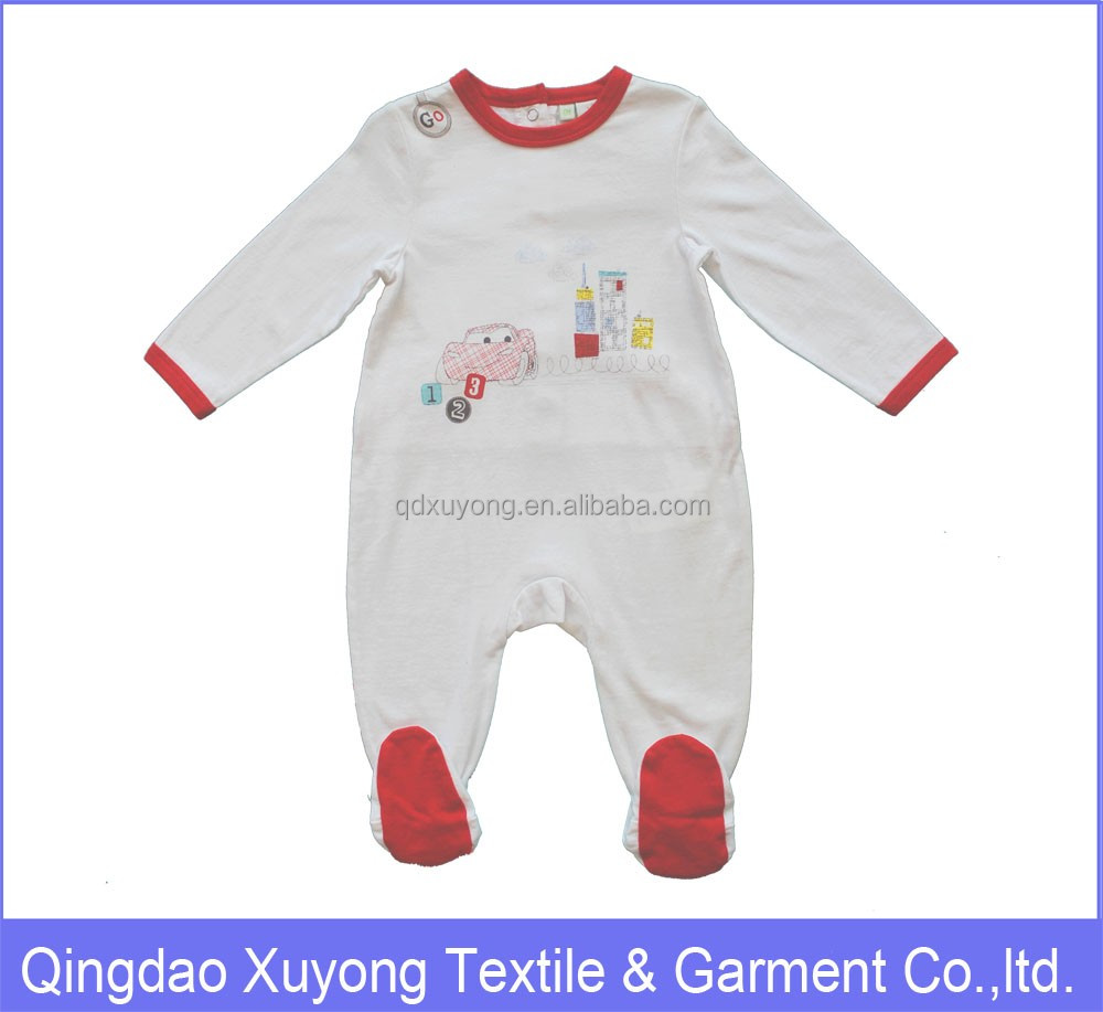 2017 100cotton newborn baby boy clothing with feet
