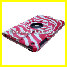 Promotional case,for ipad mini magnetic case cover zebra pattern 360 rotating degree