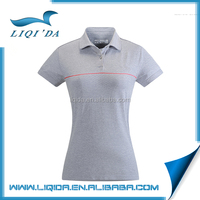 Women gray sports style polo anti-shrink cotton sublimation blank t-shirt