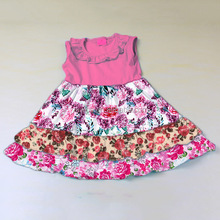 Hot sale cotton colorful flower kids baby girl dresses clothes made in china