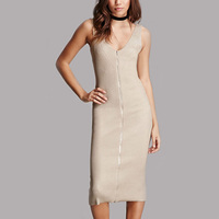 sleeveless v neck broderie zip front beautiful midi dress for lady