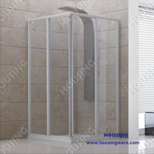 Sliding shower door with steel channel and tempered glass