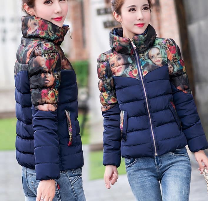 W71134G 2015 korean fashion ladies elegant winter coat printed flowers cotton down trench coats for lady