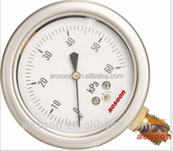 General oil water Pressure Gauge stainless steel Bourdon tube