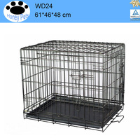 Cage Pet Dog Crate Kennel Cat Folding Tray metal wire dog cages walmart for sale
