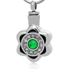 316L Silver Tone Ash Pendant Mini Keepsake High Qulity Flower Shape Cremation Urns with Green Crystal Unisex Religious Pendant