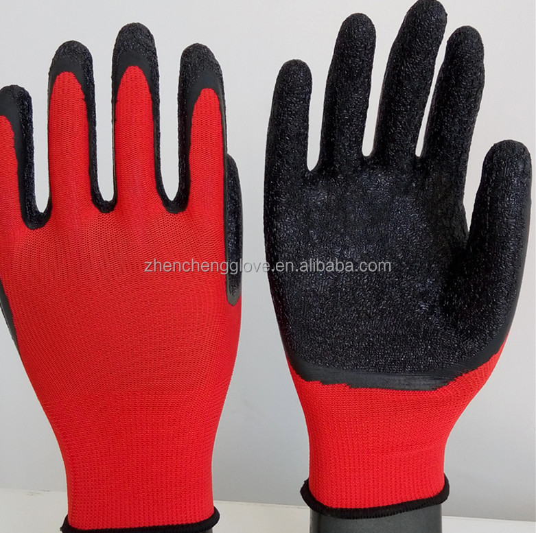 13G Construction use Latex wrinkle polyestet Working Glove