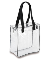 Promotional cheap customed PVC clear tote shopping bag with webbing handles