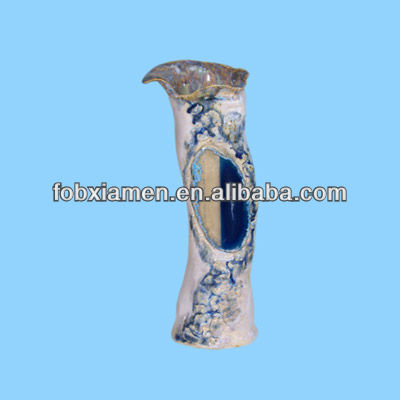 White Blue Agate Rare Ceramic Vase