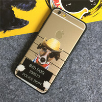 2016 fashion trend cool OEM cartoon dog clear phone case for iphone 6 4g cellphone
