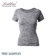 Own label accepted wholesales fitness seamless gym shirt , women gym sports wear