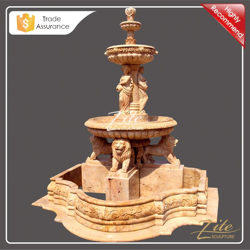 Hot Sale Beige Lions landscaping stone fountain