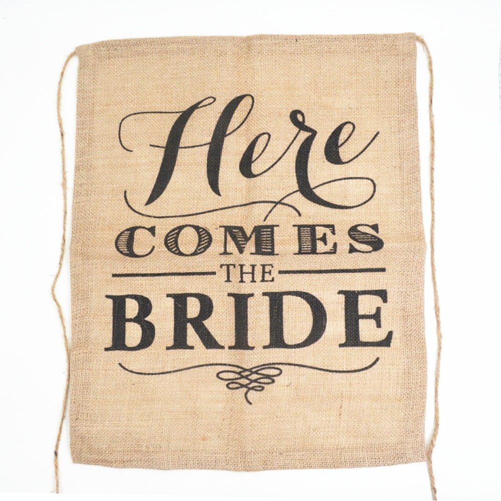 here comes the bride jute bunting flag Bachelorette Party decoration