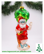 2014 swinging but cheapest handblown hanging glass christmas ornament from direct factory-santa playing guita under coconut tree