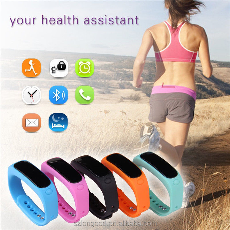 Waterproof Bluetooth 4.0 Smart Watch Bracelet Band Heart Rate Monitor Sport Fitness Tracker With Blood Pressure Monitors