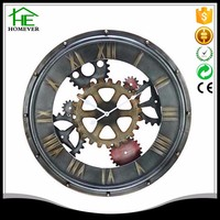 promotion decoration vintage gear metal wall clock