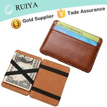 Mens Personalized Thin Magic Flip Wallet Credit Card Genuine Leather Holder