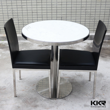 quartz stone top round dining tables and chairs