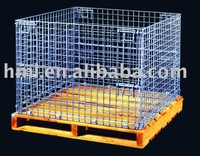 Wire container with wooden pallet, wire mesh basket, wire box