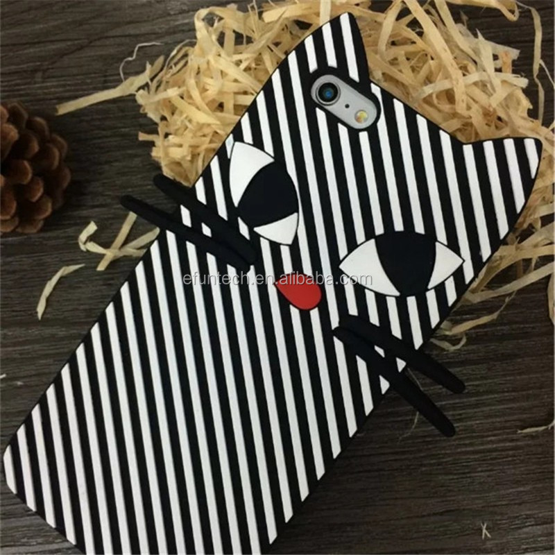 Popular zebra stripes cat silicon gel mobile phone cover for iphone 7 7plus case