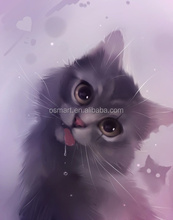 Purple eyes kitten are drooling so cute bedroom decoration sitting room decoration oil painting in canvas